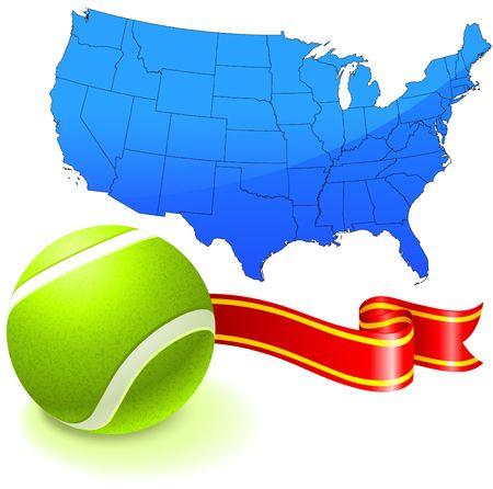 Tennis Ball with United States Map Original  Illustration illustration