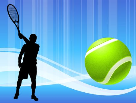 wimbledon: Tennis Player on Abstract Blue Wave Background Original  Illustration Stock Photo