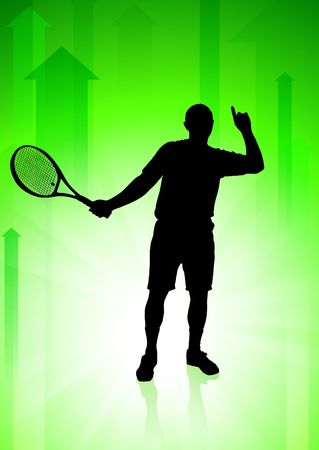 backhand: Tennis Player on Green Arrows Background Original  Illustration Stock Photo