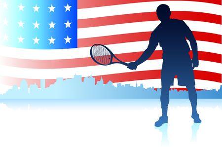 verenigde staten vlag: Tennisspelers met Verenigde Staten vlag achtergrond originele illustratie Stockfoto