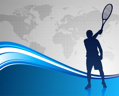 Tennis Player on Abstract Blue Background with World Map Original  Illustration illustration
