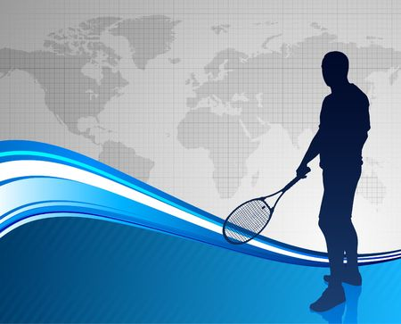worl: Tennis Player on Abstract Blue Background with Worl Map Original Illustration
