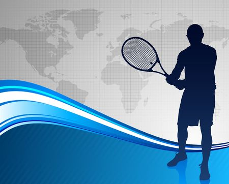 wimbledon: Tennis Player on Abstract Blue Background with Worl Map Original Vector Illustration