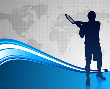 worl: Tennis Player on Abstract Blue Background with Worl Map Original  Illustration Stock Photo