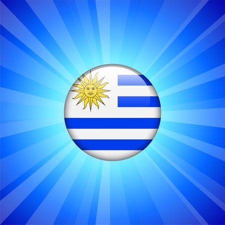 Uruguay Flag Icon on Internet Button Original  Illustration