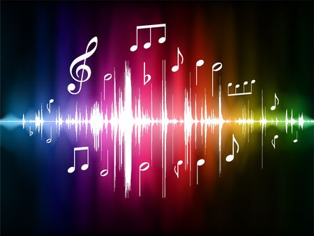 Color Spectrum Pulse with Musical Notes Original  Illustration
