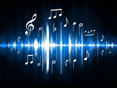 rap music: Blue Musical Notes Color Spectrum Original  Illustration Stock Photo