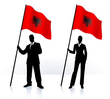 Business silhouettes with waving flag of Albania Original Illustration   illustration
