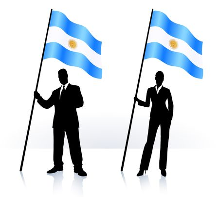 Business silhouettes with waving flag of  Argentina Original  Illustration