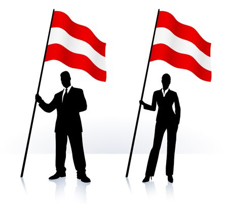 Business silhouettes with waving flag of  Austria Original Illustration   illustration