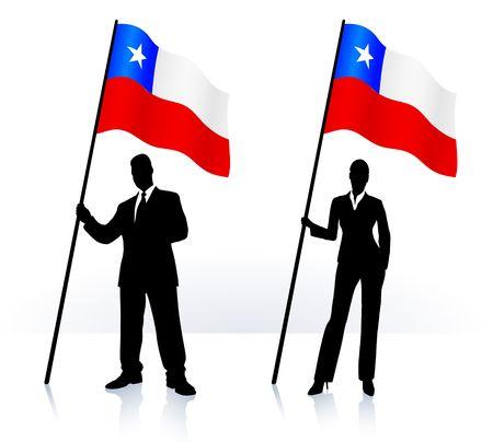 チリのオリジナル イラストの旗を振るとビジネス シルエット