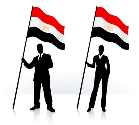 Business silhouettes with waving flag of  Egypt Original  Illustration   illustration