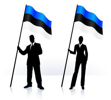 エストニアのオリジナル イラストの旗を振ってビジネス シルエット 写真素材