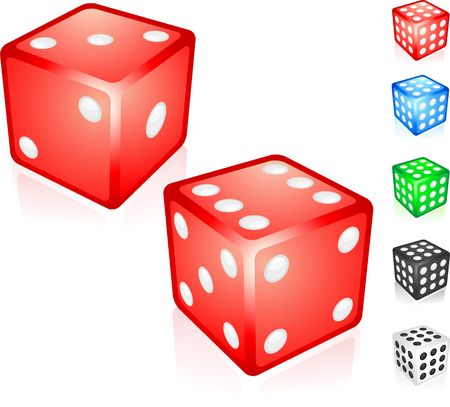 Red Dice Collection Original  Illustration Dice Ideal for Game Concept Stock Illustration - 6616504
