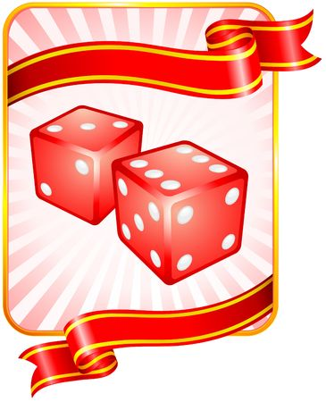 Dice with Ribbon Background Original  Illustration Dice Ideal for Game Concept Stock Illustration - 6619331