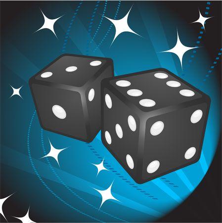 Black Dice on Background Original  Illustration Dice Ideal for Game Concept Stock Illustration - 6617492