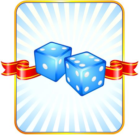 Blue Dice on Ribbon Background Original  Illustration Dice Ideal for Game Concept Stock Illustration - 6619275