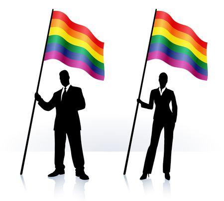 Business silhouettes with waving flag Original  Illustration   illustration