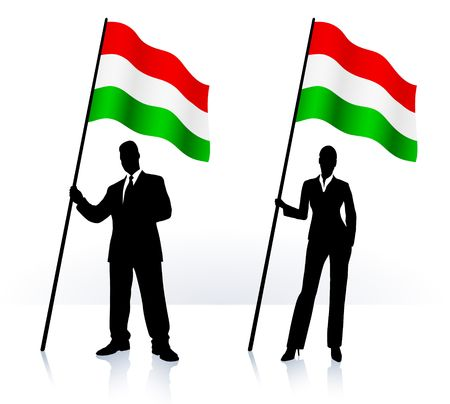 Business silhouettes with waving flag of  Hungary Original  Illustration AI8 compatible  Фото со стока
