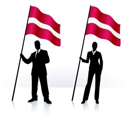 Siluetas de negocio con ondeando la bandera de la ilustración original de Letonia  Foto de archivo - 6619072