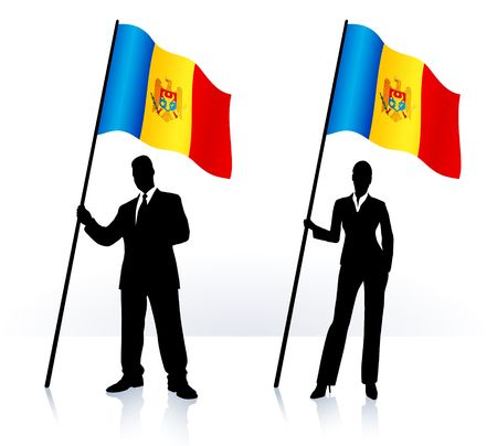 Business silhouettes with waving flag of Moldova Original  Illustration