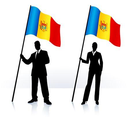 Business silhouettes with waving flag of Moldova Original  Illustration   illustration