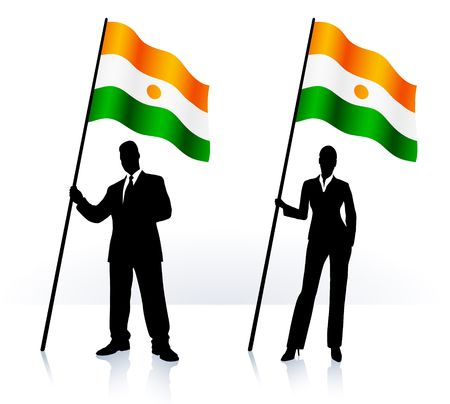 Business silhouettes with waving flag of  Niger Original  Illustration   illustration