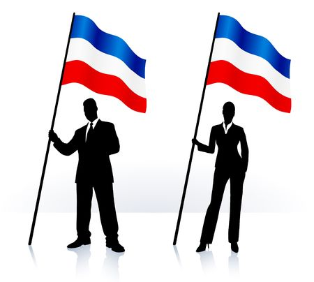 Business silhouettes with waving flag of serbia and montenegro Original  Illustration