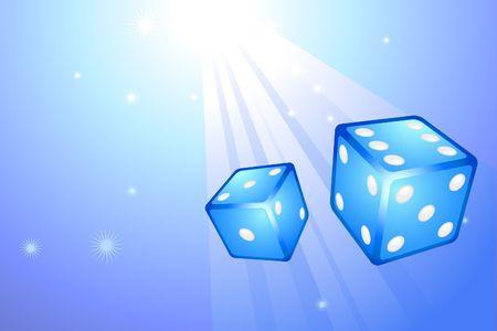 Blue Dice on Internet Background Original  Illustration Dice Ideal for Game Concept Stock Illustration - 6617633
