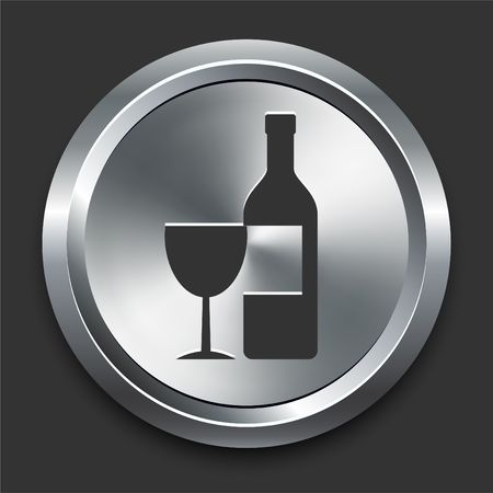 Wine Icon on Metal Internet Button Original  Illustration illustration
