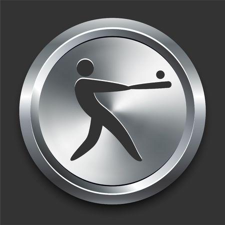 Baseball Icon on Metal Internet Button Original Illustration