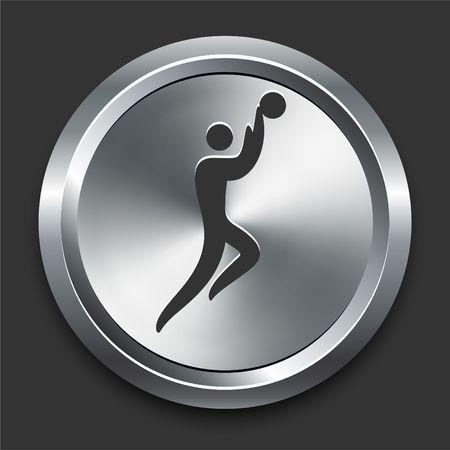 Basketball Icon on Metal Internet Button Original Illustration