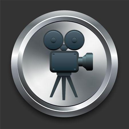 Film Camera Icon on Metal Internet Button Original Illustration