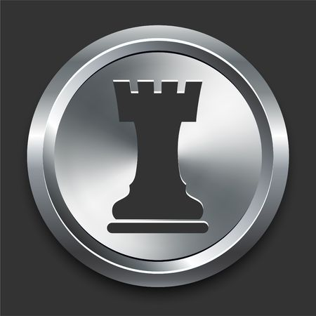 Rook Chess Icon on Metal Internet Button Original  Illustration illustration