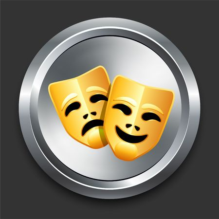 comedy: Comedy and Tragedy Masks Icon on Metal Internet Button Original  Illustration