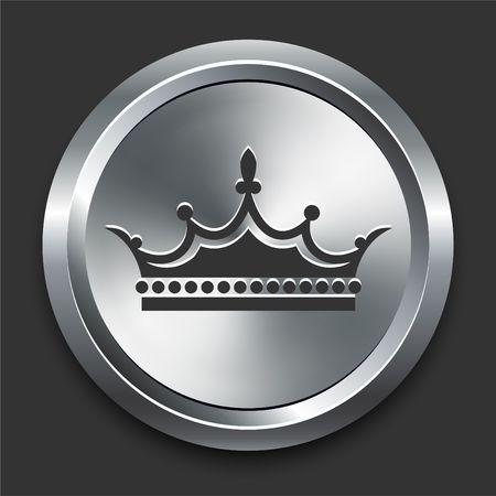Kroon-pictogram op de originele illustratie Metal Internet Button  Stockfoto
