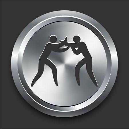Boxing Icon on Metal Internet Button Original Illustration illustration
