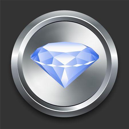 Diamond Icon on Metal Internet Button Original  Illustration