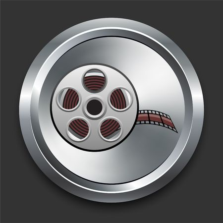 Film Reel Icon on Metal Internet Button Original  Illustration