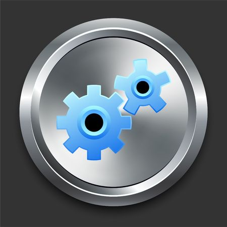 Gears Icon on Metal Internet Button Original Illustration illustration