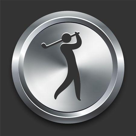 golf iron: Golf Icon on Metal Internet Button Original  Illustration Stock Photo