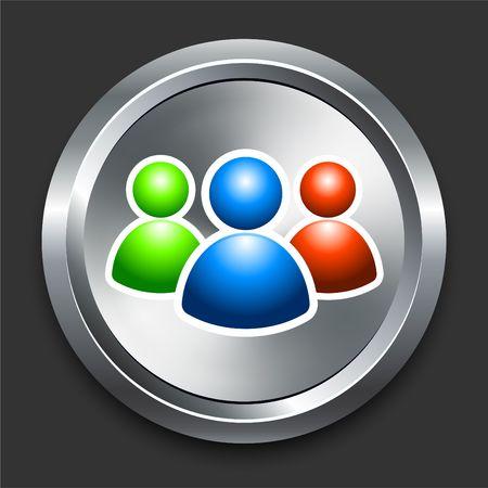 User Group Icon on Metal Internet Button Original  Illustration illustration