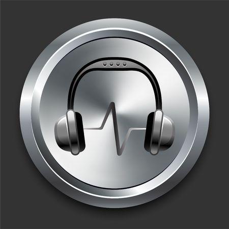 Headphones Icon on Metal Internet Button Original  Illustration illustration
