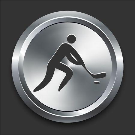 Hockey pictogram op metalen internet knop originele illustratie