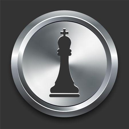 King Chess Icon on Metal Internet Button Original  Illustration