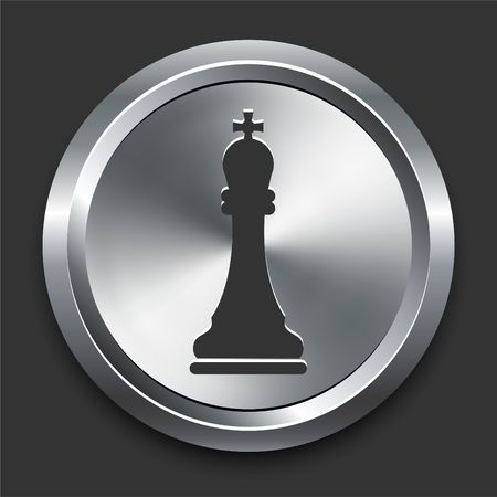 King Chess Icon on Metal Internet Button Original  Illustration