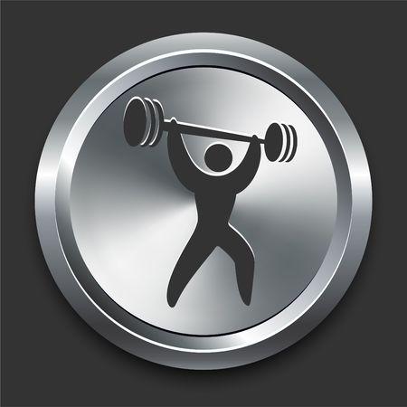 Weightlifter Icon on Metal Internet Button Original  Illustration illustration