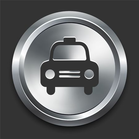 Cab Icon on Metal Internet Button Original  Illustration illustration
