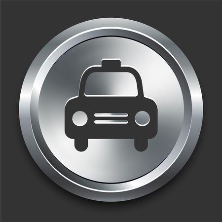 Cab Icon on Metal Internet Button Original  Illustration