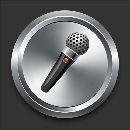 Microphone Icon on Metal Internet Button Original  Illustration illustration